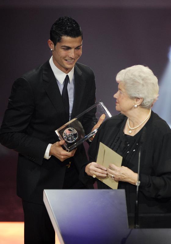 Cristiano Ronaldo accepting the 1st ever Puskas Award