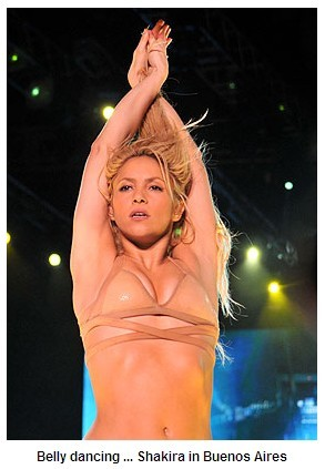 in nude shakira. petite model young belly dancing in nude-look