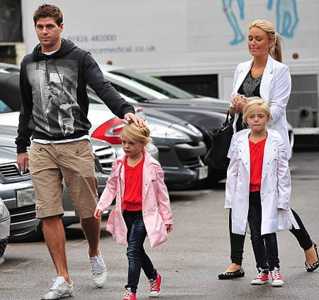 Daddy s home  Steven Gerrard was met by pregnant wife Alex and his two    Steven Gerrard Wife