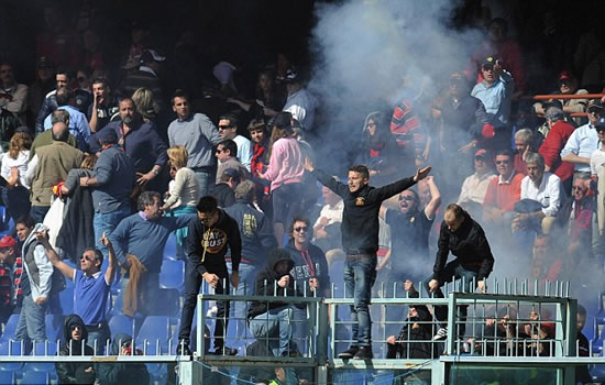 Get your kit off! Genoa match stopped as ultras demand players remove shirts