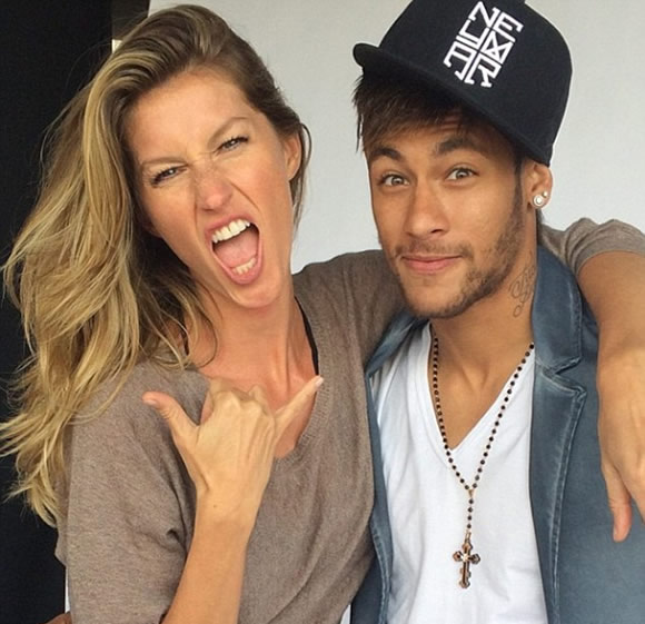 Looking good! Barcelona star Neymar poses with Brazilian supermodel Gisele
