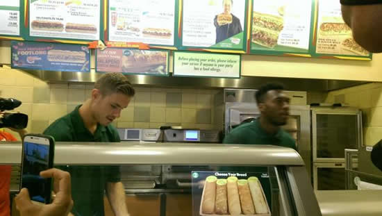 Liverpool's Daniel Sturridge & Jordan Henderson Make Sandwiches At A Boston Subway