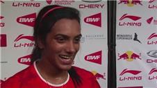 P.V Sindhu reacts to reaching the semi-finals of 2014 World Badminton Championship