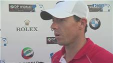 Players react after the DP World Tour Championship first round