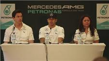 Mercedes team talk after Hamiltons F1 world title win