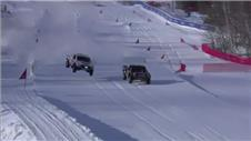 Off-road trucks compete on snow in spectacular Red Bull event