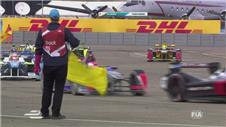 Formula E car breaks down seconds after taking race win