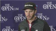 Dustin Johnson reacts to his third round at the The Open