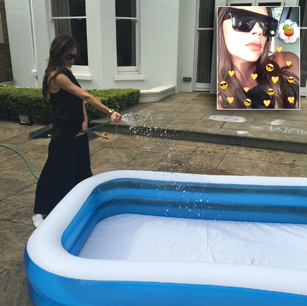 Victoria beckham earns 39 major mummy points 39 by filling a for Pop up paddling pool
