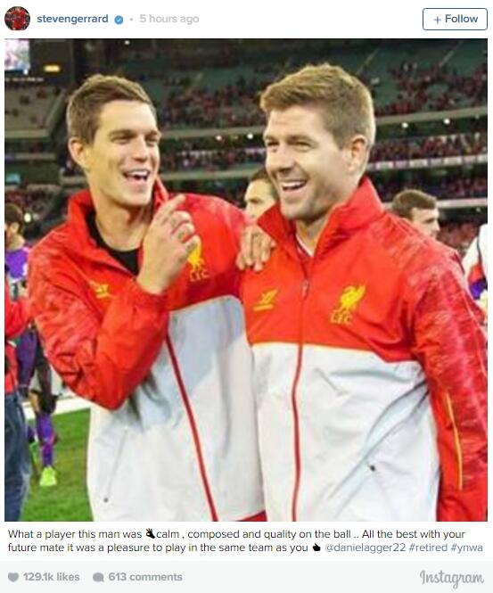Steven Gerrard pays classy tribute to Daniel Agger as former Liverpool ace retires