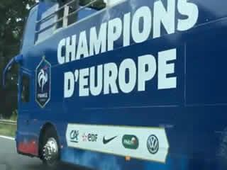 LES BLEUS BUS BACKFIRES Euro 2016 final: Cocky France victory bus spotted BEFORE Portugal upset host nation with shock win in Paris