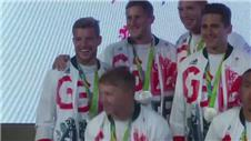 Team GB sevens team celebrate silver medal