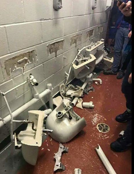 Man City fans vandalised facilities at Old Trafford after the Man United defeat