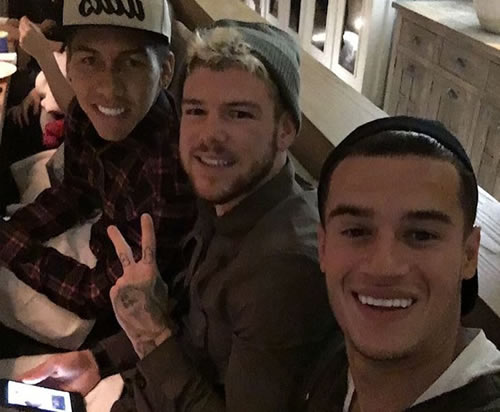 Philippe Coutinho all smiles with Roberto Firmino in Liverpool selfie