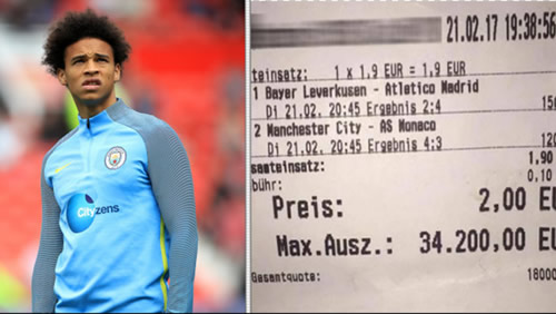 Punter Who Lost €34,200 After Leroy Sane Goal Offered Incredible Consolation Prize
