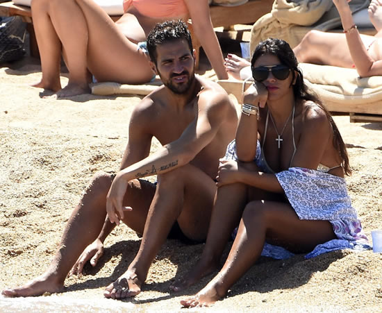 Cesc Fabregas and gorgeous WAG Daniella Semaan snapped on beach in Sardinia