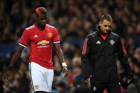 Paul Pogba leaves Old Trafford on crutches following Manchester United injury