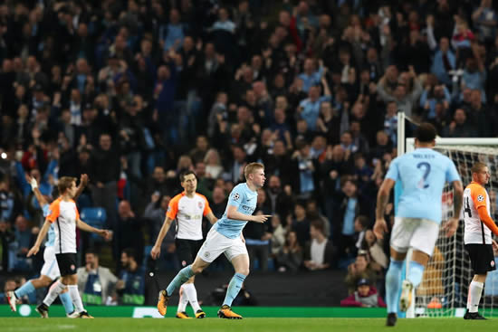 Manchester City 2 - 0 FC Shakhtar Donetsk: De Bruyne and Sterling on target as Manchester City see off Shakhtar Donestsk