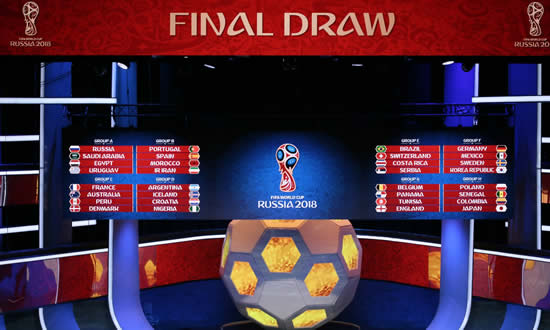 World Cup 2018 Draw: England to face Belgium, Portugal get Spain & the grop stage in full