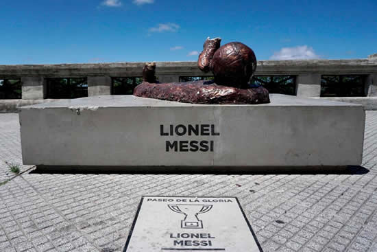 Lionel Messi statue destroyed by vandals in Argentina for the second time in a year… as legs are viciously cut off