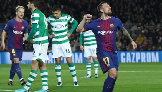 Barcelona	2-0 Sporting Clube de Portugal: Barcelona finish Champions League Group D campaign with victory over Sporting