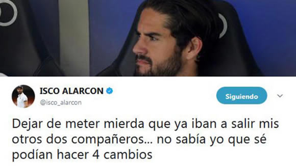 Isco hits back at accusations of refusing to warm up: Stop your crap