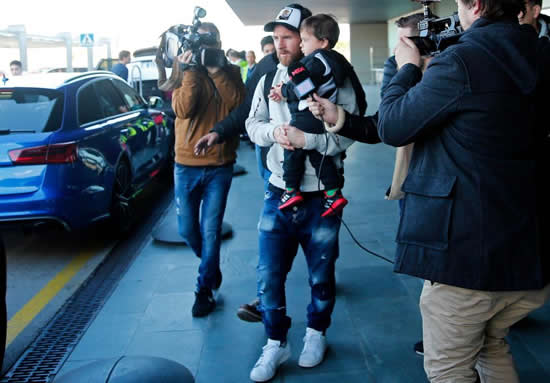 Lionel Messi returns to Barcelona with pregnant wife Antonella Roccuzzo and Luis Suarez after winter break