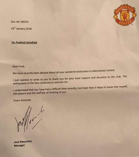Manchester United boss Jose Mourinho sends heart-warming letter to 94-year-old fan who's in hospital recovering from a stroke