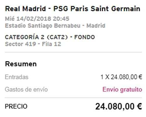 Resale tickets for Real Madrid vs PSG hit 24,080 euros