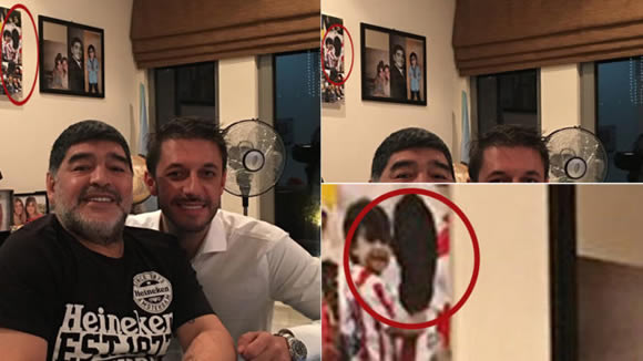 Maradona covers up Aguero's face in family photo