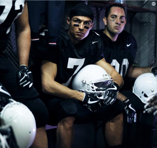 Cristiano Ronaldo gets in mood for the Super Bowl by wearing American Football gear