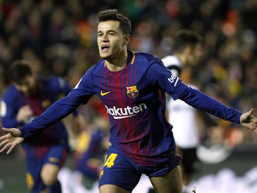 Valencia 0 - 2 Barcelona: Philippe Coutinho fires Barcelona through to Copa del Rey final