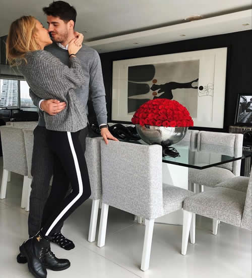 Chelsea star Alvaro Morata gives wife Alice Campello new diamond ring and roses for her 23rd birthday