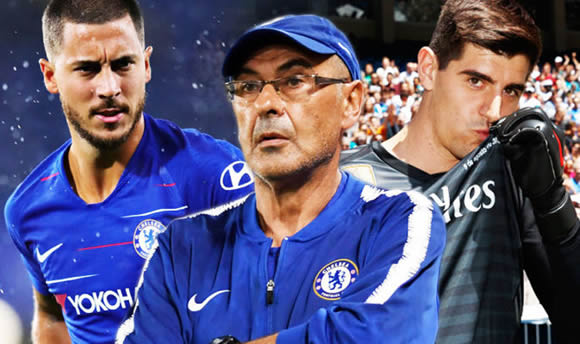 Chelsea boss Maurizio Sarri reacts to Thibaut Courtois' Real Madrid plea over Eden Hazard