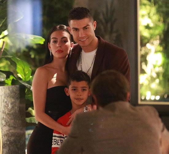 Cristiano Ronaldo treats Georgina Rodriguez and Cristiano Jnr to a meal at his London restaurant ...