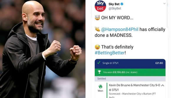 Punter Wins Outrageous Bet After Predicting City's 9-0 Win, De Bruyne To Score First