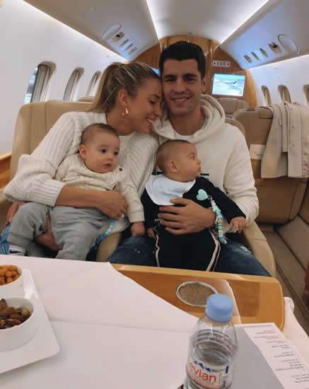 AL BE OFF THEN Alvaro Morata jets out to seal Atletico Madrid transfer with wife and young twins