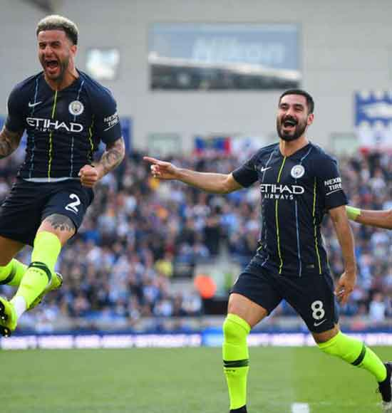 Brighton and Hove Albion 1 Manchester City 4: Guardiola's men storm to back-to-back titles