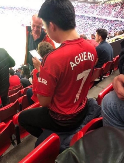 Man Utd fan has Aguero printed on the back of his shirt… but there's a good reason why